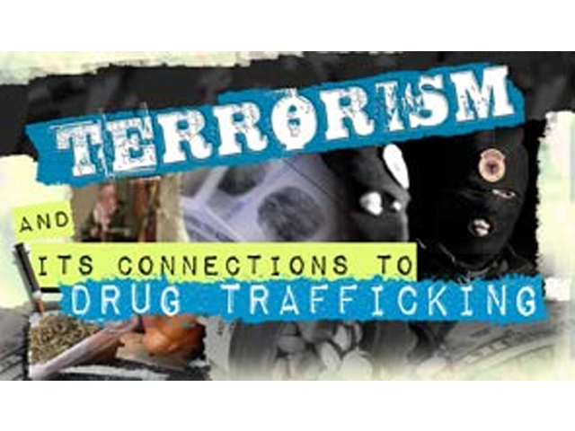 """drug trafficking and terrorism in the Under the subheading """"a growing threat,"""" the government outlined the imminent threat of the expansion of drug trafficking networks, the significance that expansion played in the courts of global terrorist organizations, and how that relationship could ultimately disrupt peace in the us."""